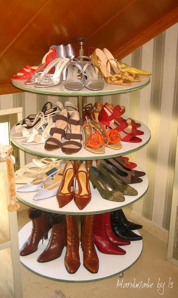 Closet Revolving Shoe Rack, Durable Metal Rotating Vertical Shoe Racks