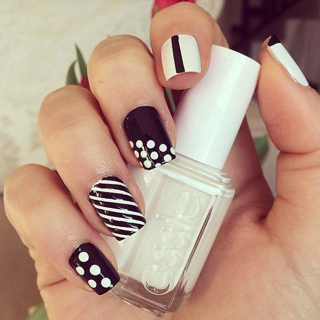10 tutoriels pour des ongles en noirs et blancs astuces - Malette de rangement vernis a ongles ...